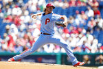 Philadelphia Phillies' Aaron Nola pitches during the first inning of a baseball game against the New York Mets, Thursday, June 27, 2019, in Philadelphia. (AP Photo/Matt Slocum)