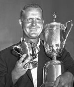 FILE - In this June 17, 1962, file photo, Jack Nicklaus holds his trophies after winning the U.S. Open Championship at the Oakmont, Pa., country club. Nicklaus, who turns 80 on Tuesday, Jan. 21, 2020, won his 18 majors 24 years apart. (AP Photo/Paul Vathis, File)