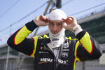 Simon Pagenaud, of France, prepares to drive during a practice session for the Indianapolis 500 auto race at Indianapolis Motor Speedway, Thursday, Aug. 13, 2020, in Indianapolis. (AP Photo/Darron Cummings)