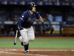 Tampa Bay Rays' Ji-Man Choi watches his walkoff home run off New York Yankees relief pitcher Cory Gearrin during the 12th inning of a baseball game Tuesday, Sept. 24, 2019, in St. Petersburg, Fla. (AP Photo/Chris O'Meara)