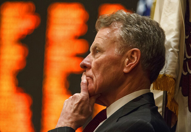 FILE - In this Aug. 28, 2017, file photo, Illinois Speaker of the House Michael Madigan, D-Chicago, looks out over the floor the Illinois House at the Illinois State Capitol in Springfield, Ill. ComEd has agreed to pay $200 million to resolve a federal criminal investigation into a long-running bribery scheme that implicates Illinois House Speaker Michael Madigan, the U.S. Attorney's office announced Friday July 17, 2020. (Justin L. Fowler/The State Journal-Register via AP, File)