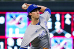 Kansas City Royals pitcher Daniel Lynch throws to a Minnesota Twins batter during the first inning of a baseball game Friday, Sept. 10, 2021, in Minneapolis. (AP Photo/Jim Mone)