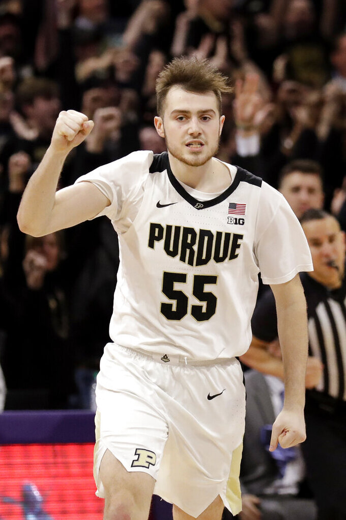 Purdue guard Sasha Stefanovic reacts after making the winning three-point basket during the second half of an NCAA college basketball game against Northwestern in Evanston, Ill., Saturday, Feb. 1, 2020. (AP Photo/Nam Y. Huh)