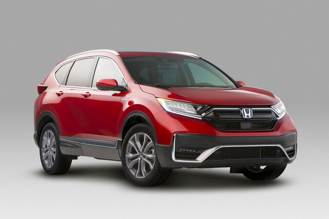 This photo provided by Honda North America shows the Honda CR-V, a compact SUV that has received a number of noteworthy updates for 2020, including more standard driver aids. (Courtesy of Honda North America via AP)