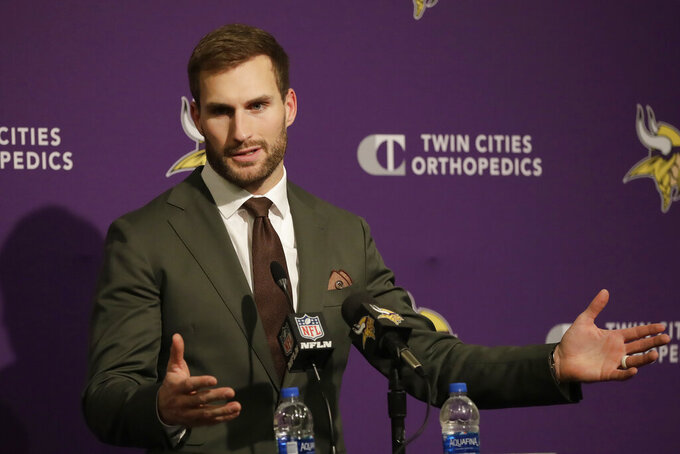 Minnesota Vikings quarterback Kirk Cousins speaks at a news conference after the Vikings were defeated by the San Francisco 49ers in an NFL divisional playoff football game, Saturday, Jan. 11, 2020, in Santa Clara, Calif. (AP Photo/Marcio Jose Sanchez)