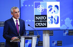 NATO Secretary General Jens Stoltenberg speaks during a media conference after chairing on on-line meeting of NATO Foreign Ministers at NATO headquarters in Brussels, Tuesday, June 1, 2021. (Johanna Geron, Pool via AP)