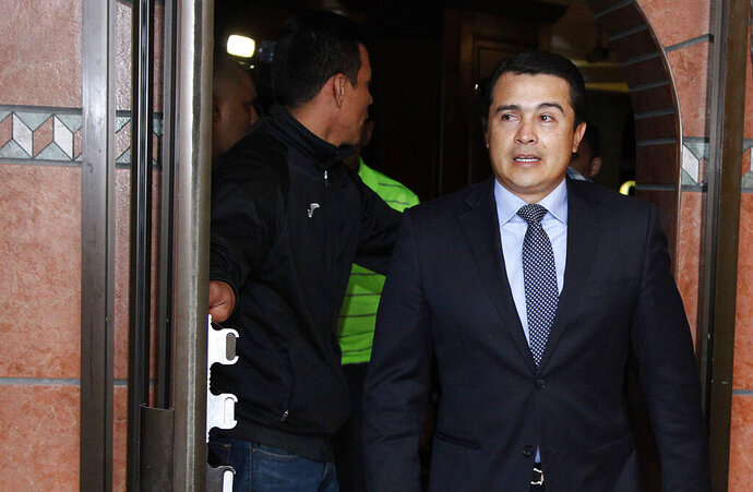 """FILE - In this March 16, 2017 file photo, Juan Antonio """"Tony"""" Hernandez, brother of Honduras President Juan Orlando Hernandez, arrives for a press conference in Tegucigalpa, Honduras. Jury selection in the drug trafficking trial of Tony Hernandez began Wednesday, Oct. 2, 2019, in U.S. federal court in Manhattan. U.S. prosecutors allege the 41-year-old used his government connections to smuggle U.S.-bound cocaine through Honduras. (AP Photo/Fernando Antonio, File)"""