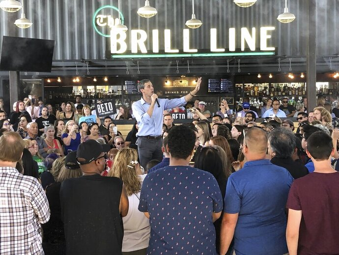 Democratic presidential candidate Beto O'Rourke takes his calls for tough gun laws and inclusive immigration policies to Phoenix, Ariz., Sunday, Oct. 6, 2019. O'Rourke on Sunday laid out a progressive vision of a country that grants citizenship to young immigrants known as