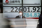 A man stands an electronic stock board showing Japan's Nikkei 225 index at a securities firm in Tokyo Tuesday, Feb. 25, 2020. Shares are mostly lower in Asia on Tuesday after Wall Street suffered its worst session in two years, with the Dow Jones Industrial Average slumping more than 1,000 points on fears that a viral outbreak that began in China will weaken the world economy.(AP Photo/Eugene Hoshiko)