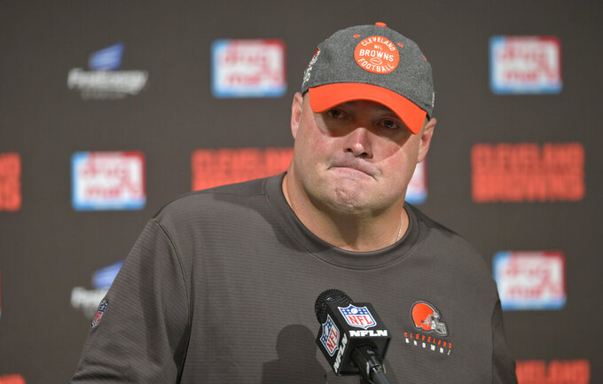 Cleveland Browns head coach Freddie Kitchens answers questions during a news conference after the Tennessee Titans defeated the Browns in an NFL football game, Sunday, Sept. 8, 2019, in Cleveland. (AP Photo/David Richard)