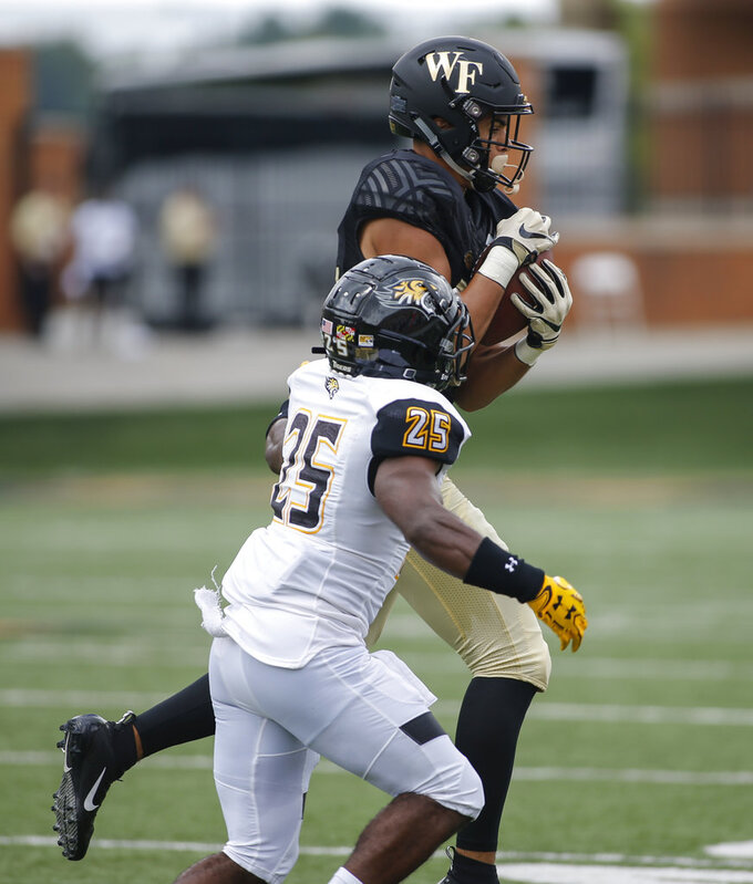 Wake Forest wide receiver Sage Surratt makes a catch against Towson defensive back Terrill Gillette in the first half of a NCAA college football game in Winston-Salem, N.C., Saturday, Sept. 8, 2018. (AP Photo/Nell Redmond)
