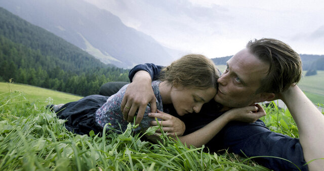 This image released by Fox Searchlight Pictures shows Valerie Pachner, left, and August Diehl in a scene from the film