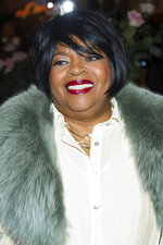"""FILE - Sarah Dash attends Aretha Franklin's annual birthday bash in New York on March 22, 2015. Dash, who co-founded of the all-female singing group Labelle with Patti Labelle and Nona Hendryx, which is best known for their raucous 1974 hit """"Lady Marmalade,"""" has died. She was 76. Labelle and Hendryx announced their bandmate's death Monday on social media. (Photo by Charles Sykes/Invision/AP, File)"""