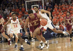 Florida State guard Anthony Polite (2) races down court after stealing the ball from a Virginia player during the first half of an NCAA college basketball game in Charlottesville, Va., Tuesday, Jan. 28, 2020.(AP Photo/Lee Luther Jr.)