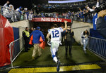 Indianapolis Colts quarterback Andrew Luck leaves the field after an NFL football game against the Tennessee Titans Sunday, Dec. 30, 2018, in Nashville, Tenn. The Colts won 33-17.(AP Photo/Mark Zaleski)