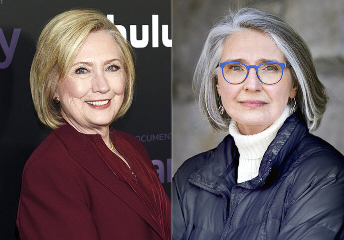 This combination photo shows former secretary of state Hillary Clinton at the premiere of the Hulu documentary