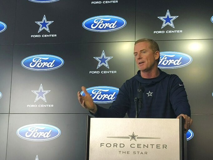 Dallas Cowboys Jason Garrett holds his final news conference of the season at team headquarters in Frisco, Texas, on Monday, jan. 14, 2019. The Cowboys lost to the Los Angeles Rams 30-22 in the divisional playoffs Saturday. (AP Photo/Schuyler Dixon)