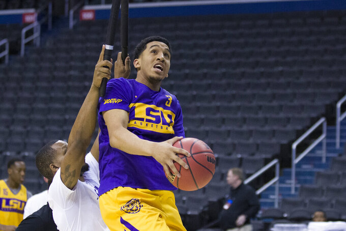 LSU guard Tremont Waters (3) shoots the ball during an NCAA men's college basketball practice in Washington, Thursday, March 28, 2019. LSU plays Michigan State in an East Regional semifinal game on Friday. (AP Photo}