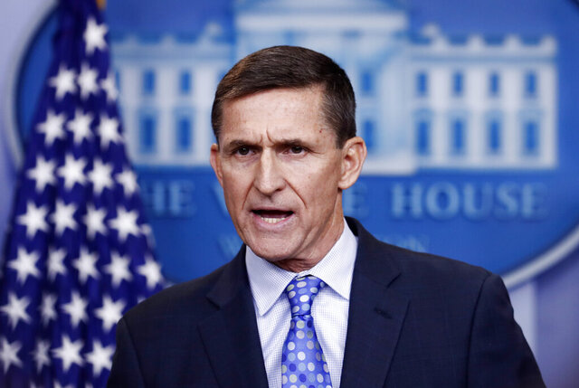 FILE - In this Feb. 1, 2017 file photo, then National Security Adviser Michael Flynn speaks during the daily news briefing at the White House, in Washington. (AP Photo/Carolyn Kaster)