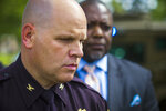 Newport News Police Chief Steve Drew addresses the media during an update of a shooting at Heritage High School in Newport News, Va., Monday, Sept. 20, 2021. (AP Photo/John C. Clark)
