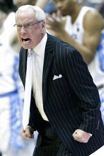 FILE - In this March 9, 2019, file photo, North Carolina head coach Roy Williams reacts during the second half of an NCAA college basketball game against Duke, in Chapel Hill, N.C. The Hall of Fame coach is leading a team picked to finish second in the Atlantic Coast Conference. (AP Photo/Gerry Broome, File)
