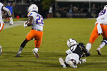 Boise State cornerback Tyric LeBeauf (22) runs past Central Florida wide receiver Amari Johnson, right, for a 100-yard touchdown on an interception during the first half of an NCAA college football game Thursday, Sept. 2, 2021, in Orlando, Fla. (AP Photo/John Raoux)