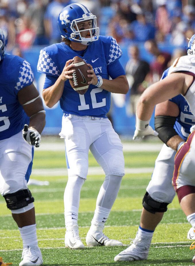 Kentucky quarterback Gunnar Hoak (12) drops back to pass during an NCAA college football game against Central Michigan in Lexington, Ky., Saturday, Sept. 1, 2018. (AP Photo/Bryan Woolston)