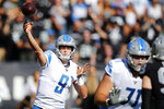 Detroit Lions quarterback Matthew Stafford (9) passes against the Oakland Raiders during the first half of an NFL football game in Oakland, Calif., Sunday, Nov. 3, 2019. (AP Photo/John Hefti)