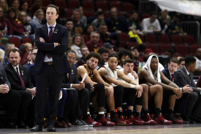 Minnesota head coach Richard Pitino watches during the second half of an NCAA college basketball game against Michigan in the semifinals of the Big Ten Conference tournament, Saturday, March 16, 2019, in Chicago. Michigan won 76-49.(AP Photo/Nam Y. Huh)