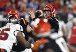 Cincinnati Bengals quarterback Kyle Shurmur throws a pass against the Tampa Bay Buccaneers during the second half of an NFL preseason football game Saturday, Aug. 14, 2021, in Tampa, Fla. (AP Photo/Jason Behnken)