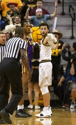 Missouri's Jordan Geist, right, looks at the referee after he was called for a technical foul during the first half of an NCAA college basketball game against LSU Saturday, Jan. 26, 2019, in Columbia, Mo. (AP Photo/L.G. Patterson)