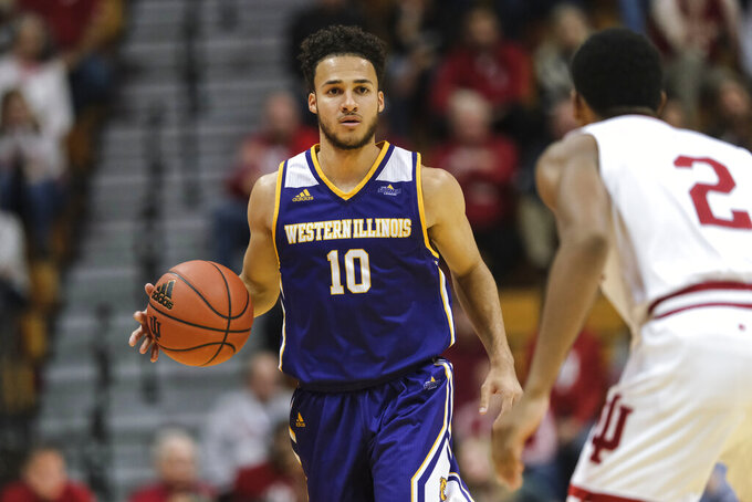 Western Illinois guard Kobe Webster (10) controls the ball in front of Indiana guard Armaan Franklin (2) in the second half of an NCAA college basketball game in Bloomington, Ind., Tuesday, Nov. 5, 2019. Indiana won 98-65. (AP Photo/AJ Mast)