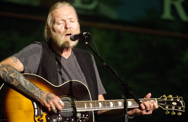 FILE - In this May 16, 2016, file photo, Rock and Roll Hall of Famer Gregg Allman performs during Mercer University's Commencement at Hawkins Arena in Macon, Ga. Capricorn Sound Studios, the Macon, Ga., music studio that fused blues, country and other sounds into Southern rock is being reborn. The historic Studio A is reopening this month, after years of work by Mercer University and other supporters to restore and equip it with state-of-the-art technology. The studio helped propel the Allman Brothers Band and other groups to stardom in the 1970s. (Jason Vorhees/The Macon Telegraph via AP, File)
