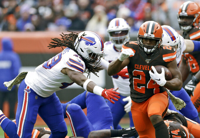 Cleveland Browns running back Nick Chubb rushes during the first half of an NFL football game against the Buffalo Bills, Sunday, Nov. 10, 2019, in Cleveland. (AP Photo/Ron Schwane)