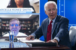 Democratic presidential candidate former Vice President Joe Biden speaks to media during a virtual a briefing on COVID-19 from public health experts in Wilmington, Del., Thursday, Aug. 13, 2020, with his running mate Sen. Kamala Harris, D-Calif. (AP Photo/Carolyn Kaster)
