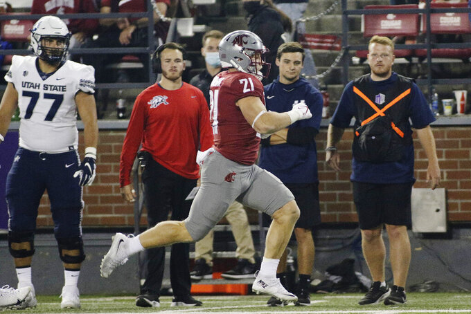 Washington State running back Max Borghi runs for a touchdown during the second half of an NCAA college football game against Utah State, Saturday, Sept. 4, 2021, in Pullman, Wash. Utah State won 26-23. (AP Photo/Young Kwak)