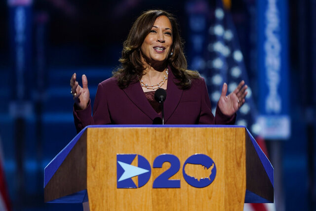 Democratic vice presidential candidate Sen. Kamala Harris, D-Calif., speaks during the third day of the Democratic National Convention, Wednesday, Aug. 19, 2020, at the Chase Center in Wilmington, Del. Republicans keep getting Harris' name wrong, and Democrats say it's not a slip-up. President Donald Trump and Vice President Mike Pence have both mispronounced the Democratic vice presidential candidate's first name in recent days. (AP Photo/Carolyn Kaster)