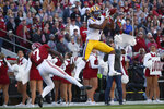 LSU wide receiver Ja'Marr Chase (1) makes a catch for a touchdown as Alabama defensive back Trevon Diggs (7) defends in the first half of an NCAA college football game, Saturday, Nov. 9, 2019, in Tuscaloosa , Ala. (AP Photo/John Bazemore)