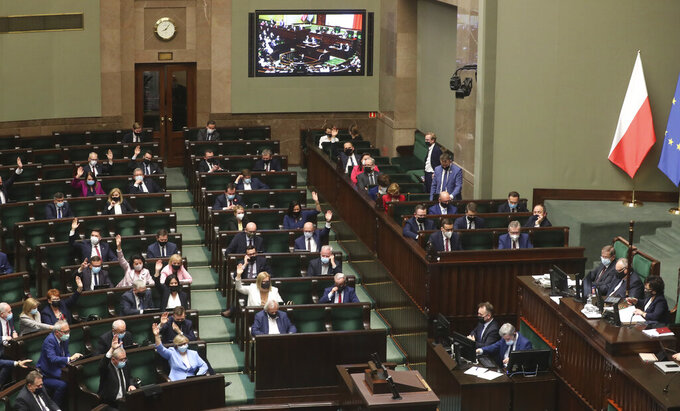 Poland's lawmakers during voting – some in parliament, some remotely – in Warsaw, Poland, on Tuesday, May 4, 2021. Polish lawmakers have voted to approve the nation's spending plan for the 58 billion euros ($70 billion) it expects to receive from the European Union's pandemic recovery plan. (AP Photo/Czarek Sokolowski)