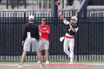 Ohio State quarterback Justin Fields throws a pass during NCAA college football practice, Friday, Aug. 2, 2019, in Columbus, Ohio. (AP Photo/Jay LaPrete)