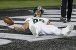 South Florida tight end Mitchell Wilcox reacts after scoring a touchdown during the first half of an NCAA college football game against Cincinnati, Saturday, Nov. 10, 2018, in Cincinnati. (AP Photo/John Minchillo)