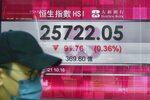 A man walks past a bank's electronic board showing the Hong Kong share index at Hong Kong Stock Exchange in Hong Kong Tuesday, Sept. 14, 2021. Asian stock markets were mixed Tuesday as investors waited for an update on U.S. inflation that has been stronger than expected. (AP Photo/Vincent Yu)