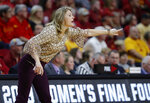 Missouri State coach Kellie Harper directs her team against Iowa State during the first half of a second-round game in the NCAA women's college basketball tournament Monday, March 25, 2019, in Ames, Iowa. (AP Photo/Matthew Putney)