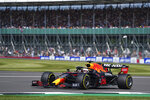 Red Bull driver Max Verstappen of the Netherlands steers his car during the first free practice session ahead of Sunday's British Formula One Grand Prix, at the Silverstone circuit, in Silverstone, England, Friday, July 16, 2021. (AP Photo/Jon Super)
