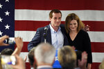 With his wife, Laura by his side, Democrat Dan McCready greets supporters after losing a special election for United States Congress in North Carolina's 9th Congressional District to Republican, Dan Bishop, Tuesday, Sept. 10, 2019, in Charlotte, N.C. (AP Photo/Kathy Kmonicek)