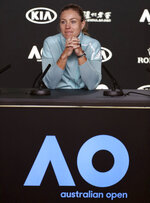 Germany's Angelique Kerber answers a question during a press conference ahead of the Australian Open tennis championships in Melbourne, Australia, Saturday, Jan. 12, 2019. (AP Photo/Mark Schiefelbein)