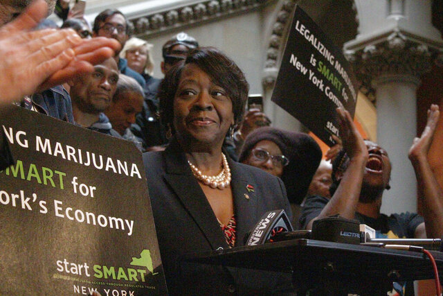 Assembly member Crystal Peoples-Stokes, a Democrat who represents Buffalo, speaks at a rally for marijuana legalization at the New York State Capitol in Albany on Tuesday, Jan. 28, 2020. New York could have one of the most lenient marijuana possession thresholds in the nation if an alternative legalization proposal is passed this session.  (AP Photo/Ryan Tarinelli)