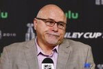 FILE - In this May 29, 2018, file photo, Washington Capitals head coach Barry Trotz pauses during a news conference after hockey practice in Las Vegas. Trotz has resigned as coach of the Washington Capitals after leading them to the Stanley Cup.  The team announced Trotz's resignation Monday, June 18, 2018.  (AP Photo/Ross D. Franklin, File)