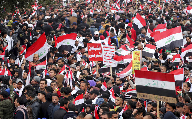 Followers of Shiite cleric Muqtada al-Sadr gather in Baghdad, Iraq, Friday, Jan. 24, 2020. Thousands of supporters of an influential, radical Shiite cleric gathered Friday in central Baghdad for a rally to demand that American troops leave the country amid heightened anti-US sentiment after a drone strike ordered by Washington earlier this month killed a top Iranian general in the Iraqi capital. (AP Photo)