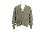 This image released by Julien's Auctions shows an olive green cardigan sweater worn by Nirvana frontman Kurt Cobain during Nirvana's MTV's